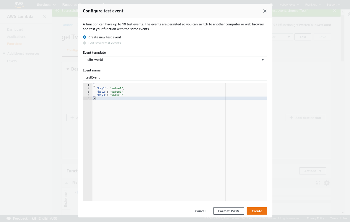 test event for AWS Lambda function